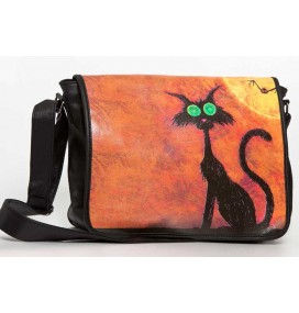H. Cat Black Big messenger bag
