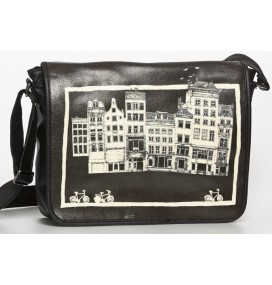 Amsterdam city black big messenger bag