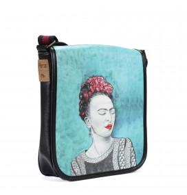 Τσάντα Ταχυδρόμου Χιαστί με Σχέδιο Τα Κοκκινα Λουλούδια της Frida σε Γαλάζιο Φόντο