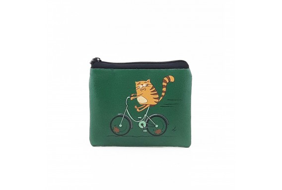 Cat Printed Visa & Coins Bag