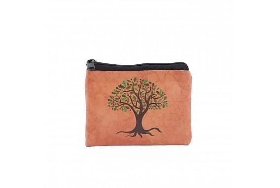 Tree Printed Visa & Coins Bag
