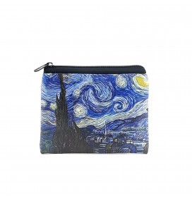 Van Gogh Starry Night Printed Visa & Coins Bag