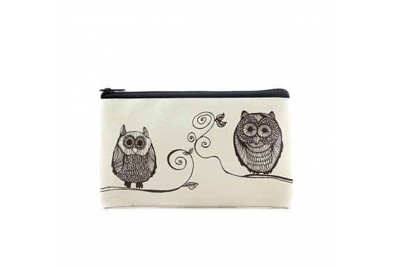 Owls Printed Big Coins Bag