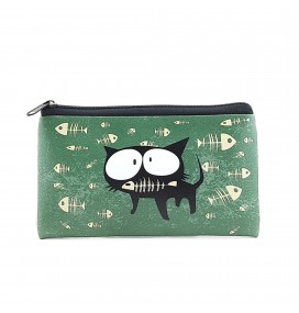 Cat Printed Big Coins Bag