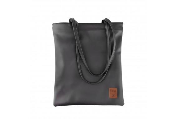 Pera Black Zippered Tote Bag