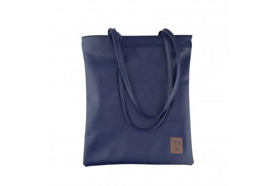 Pera Dark Blue Zippered Tote Bag