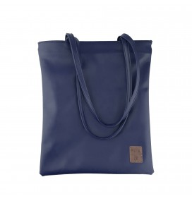Pera Dark Blue Zippered Tote Bag